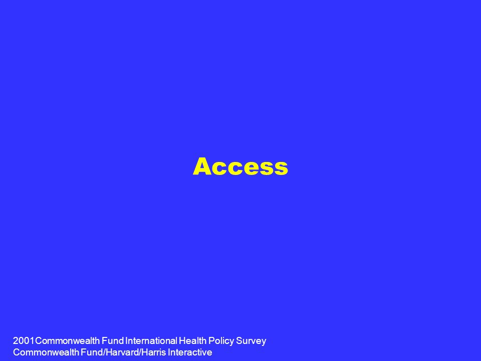 2001Commonwealth Fund International Health Policy Survey Commonwealth Fund/Harvard/Harris Interactive Access