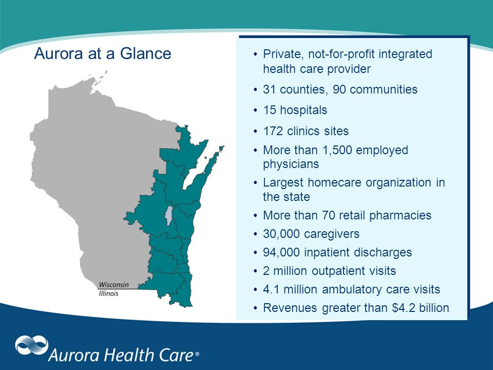 Aurora at a Glance Private, not-for-profit integrated health care provider 31 counties, 90 communities 15 hospitals 172 clinics sites More than 1,500