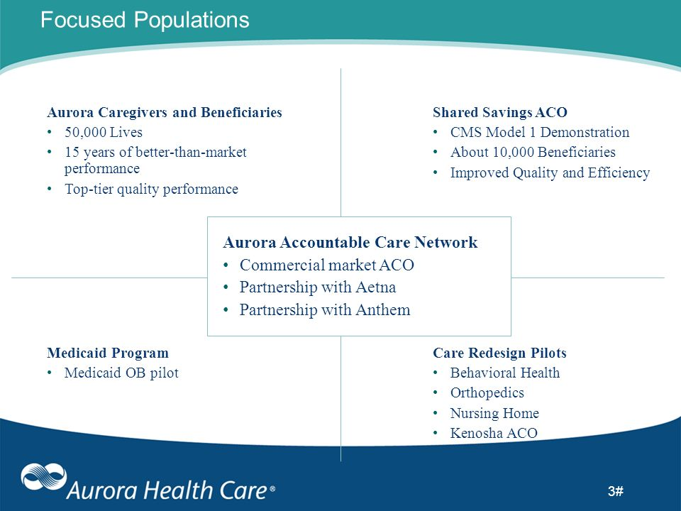 3# Focused Populations Aurora Caregivers and Beneficiaries 50,000 Lives 15 years of better-than-market performance Top-tier quality performance Shared
