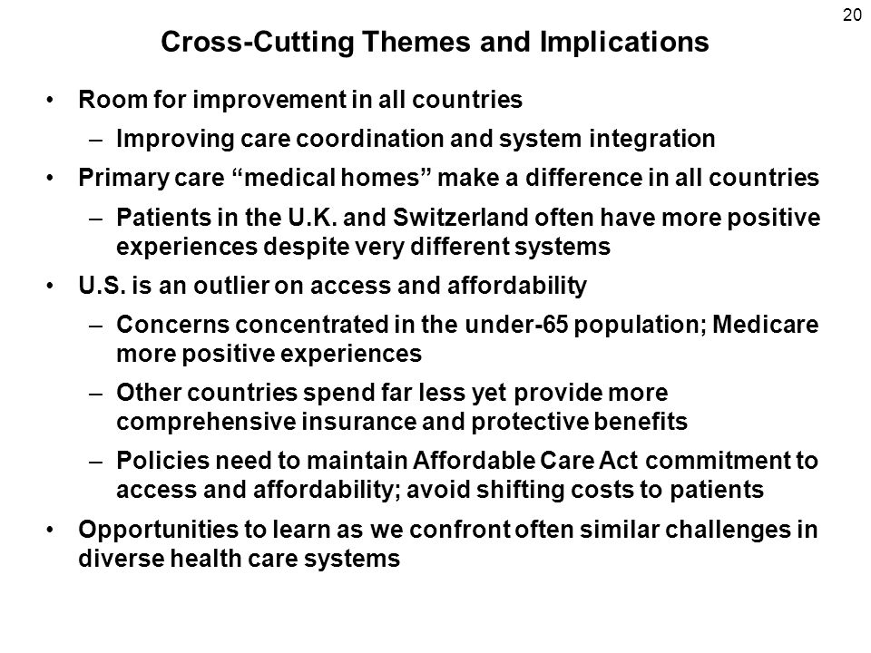 20 Cross-Cutting Themes and Implications Room for improvement in all countries –Improving care coordination and system integration Primary care medica