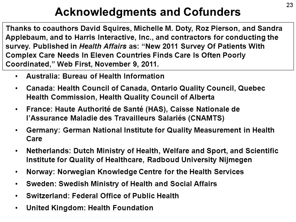 23 Acknowledgments and Cofunders Australia: Bureau of Health Information Canada: Health Council of Canada, Ontario Quality Council, Quebec Health Comm
