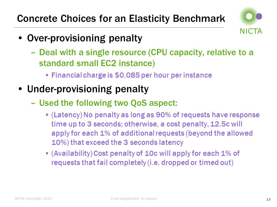 NICTA Copyright 2010From imagination to impact Concrete Choices for an Elasticity Benchmark Over-provisioning penalty –Deal with a single resource (CP