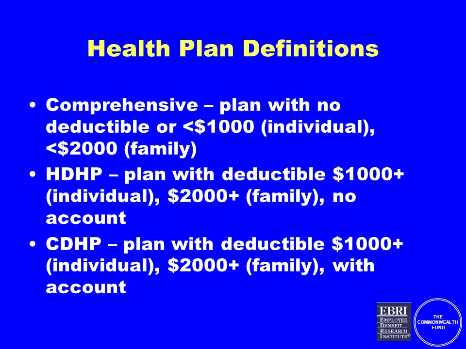 THE COMMONWEALTH FUND Health Plan Definitions Comprehensive – plan with no deductible or <$1000 (individual), <$2000 (family) HDHP – plan with deductible $1000+ (individual), $2000+ (family), no account CDHP – plan with deductible $1000+ (individual), $2000+ (family), with account