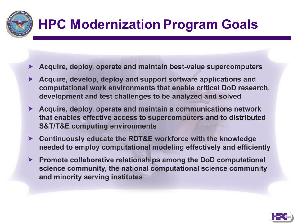 HPC Modernization Program Goals