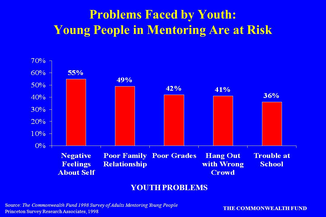 Source: The Commonwealth Fund 1998 Survey of Adults Mentoring Young People Princeton Survey Research Associates, 1998 THE COMMONWEALTH FUND Problems Faced by Youth: Young People in Mentoring Are at Risk YOUTH PROBLEMS