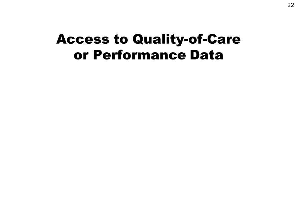 22 Access to Quality-of-Care or Performance Data