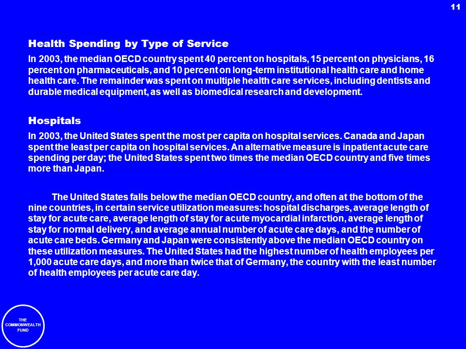 THE COMMONWEALTH FUND 11 Health Spending by Type of Service In 2003, the median OECD country spent 40 percent on hospitals, 15 percent on physicians,