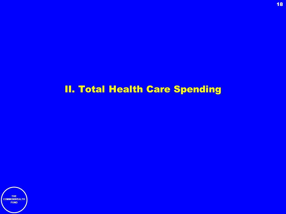 THE COMMONWEALTH FUND 18 II. Total Health Care Spending