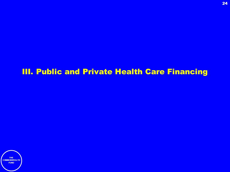THE COMMONWEALTH FUND 24 III. Public and Private Health Care Financing