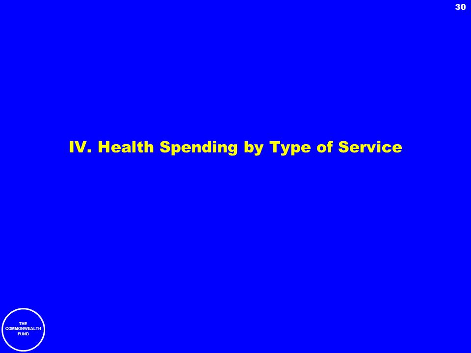 THE COMMONWEALTH FUND 30 IV. Health Spending by Type of Service