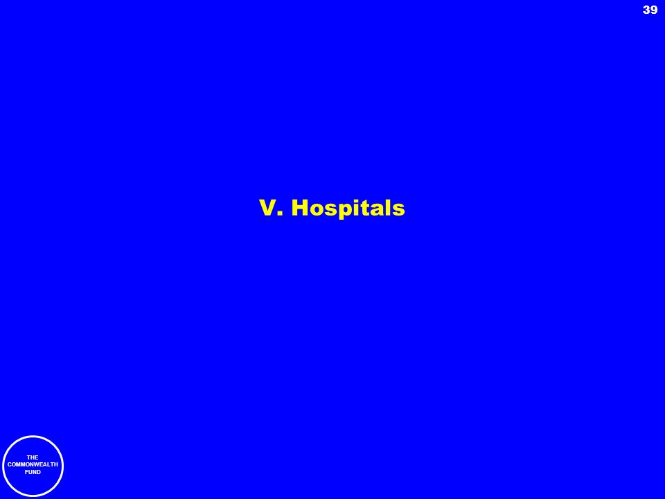 THE COMMONWEALTH FUND 39 V. Hospitals