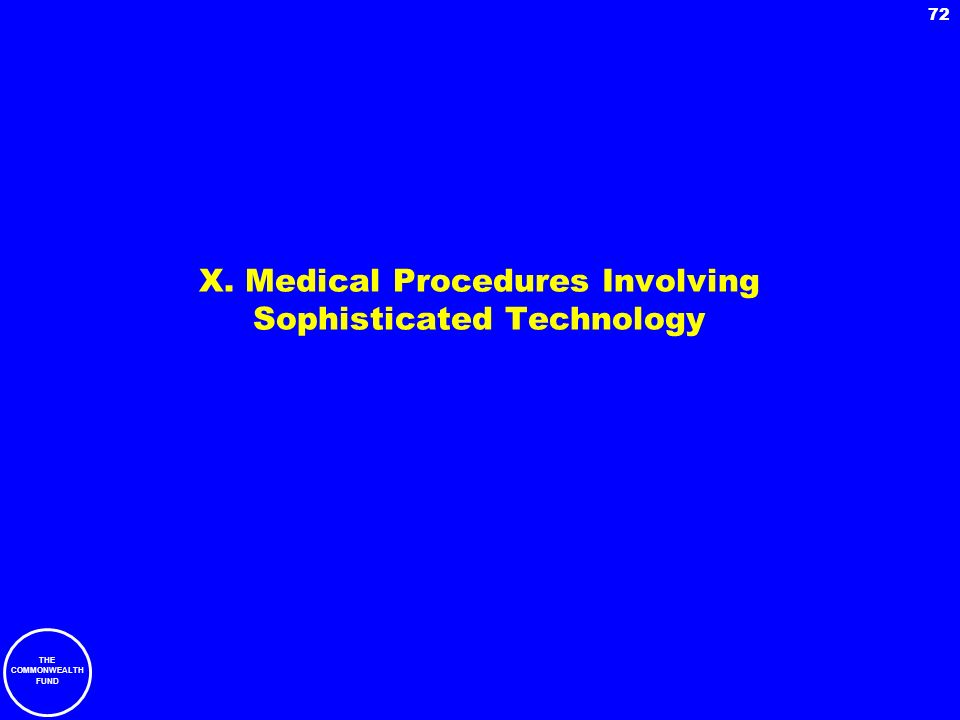 THE COMMONWEALTH FUND 72 X. Medical Procedures Involving Sophisticated Technology