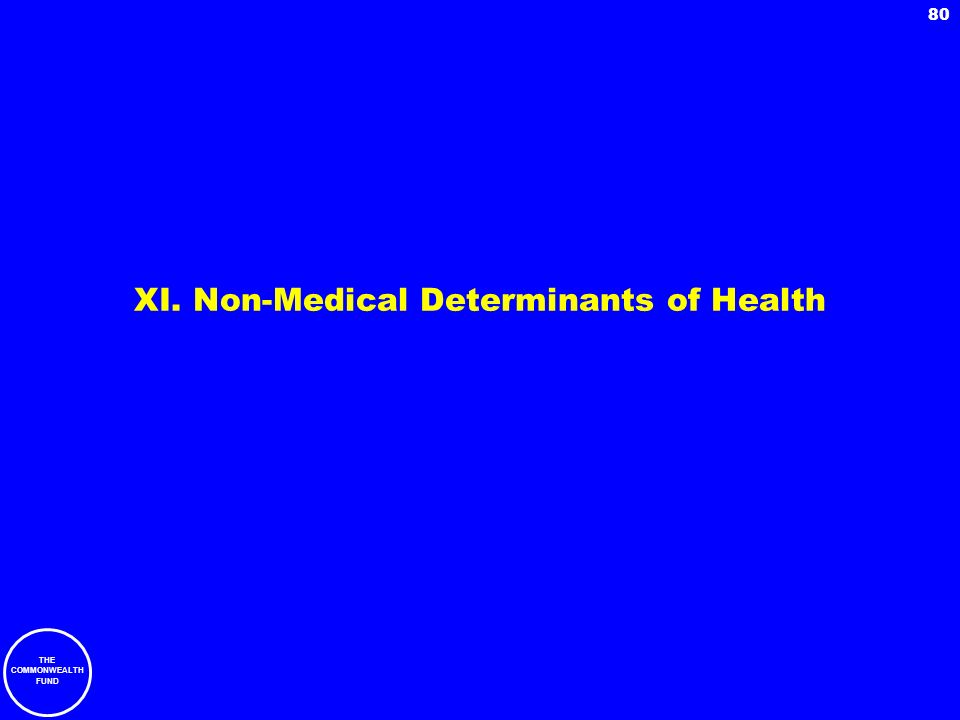 THE COMMONWEALTH FUND 80 XI. Non-Medical Determinants of Health