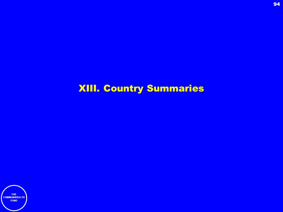 THE COMMONWEALTH FUND 94 XIII. Country Summaries