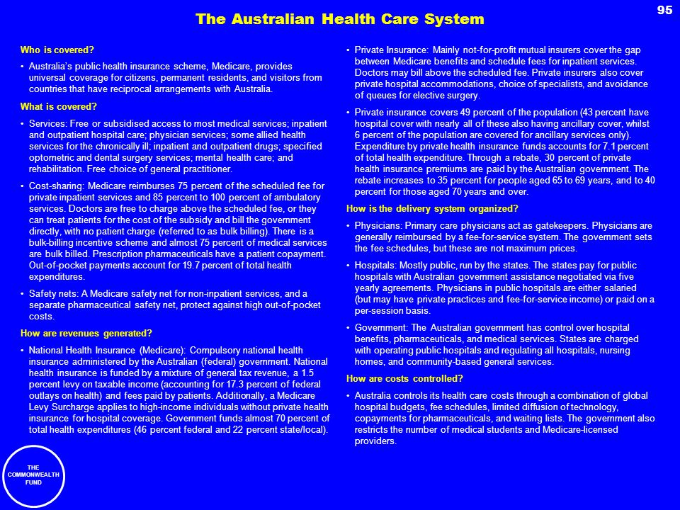THE COMMONWEALTH FUND 95 Who is covered? Australias public health insurance scheme, Medicare, provides universal coverage for citizens, permanent resi
