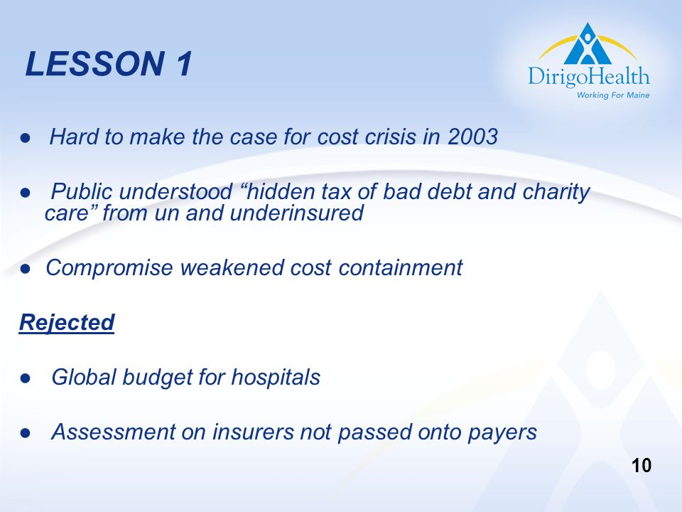 LESSON 1 Hard to make the case for cost crisis in 2003 Public understood hidden tax of bad debt and charity care from un and underinsured Compromise w