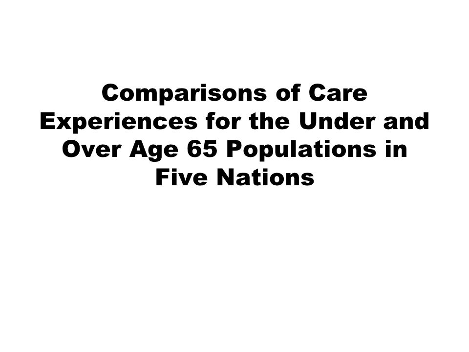 Comparisons of Care Experiences for the Under and Over Age 65 Populations in Five Nations