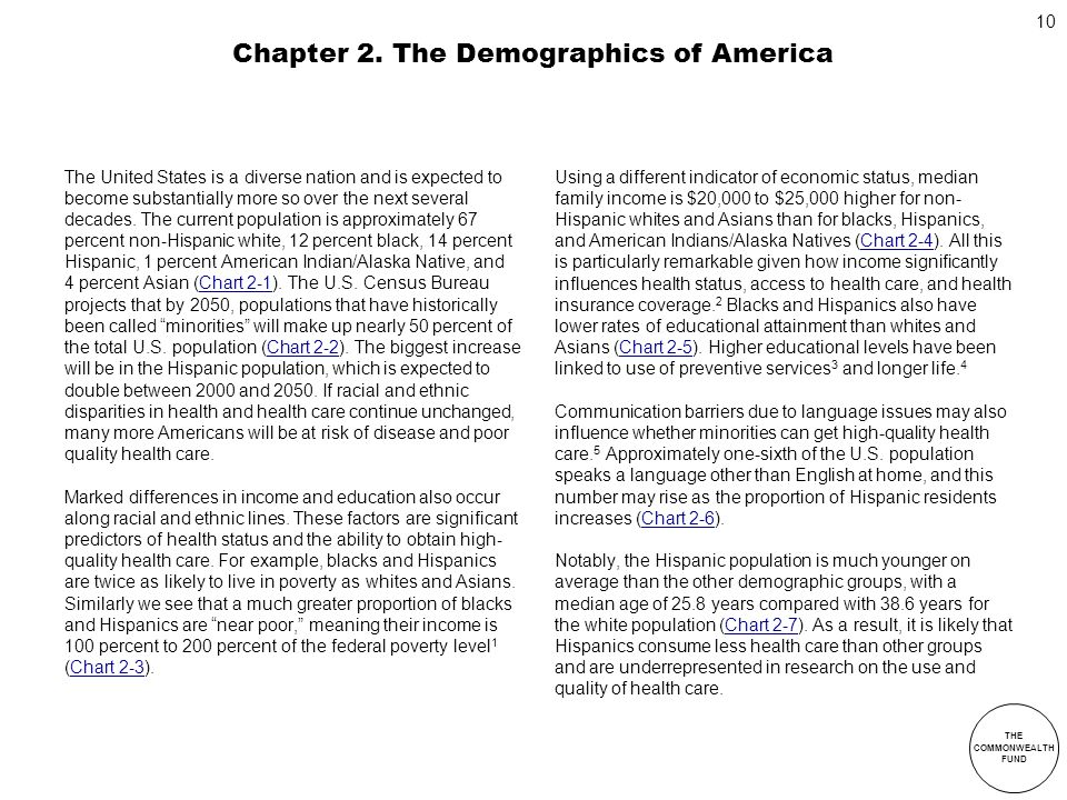 THE COMMONWEALTH FUND 10 Chapter 2. The Demographics of America The United States is a diverse nation and is expected to become substantially more so
