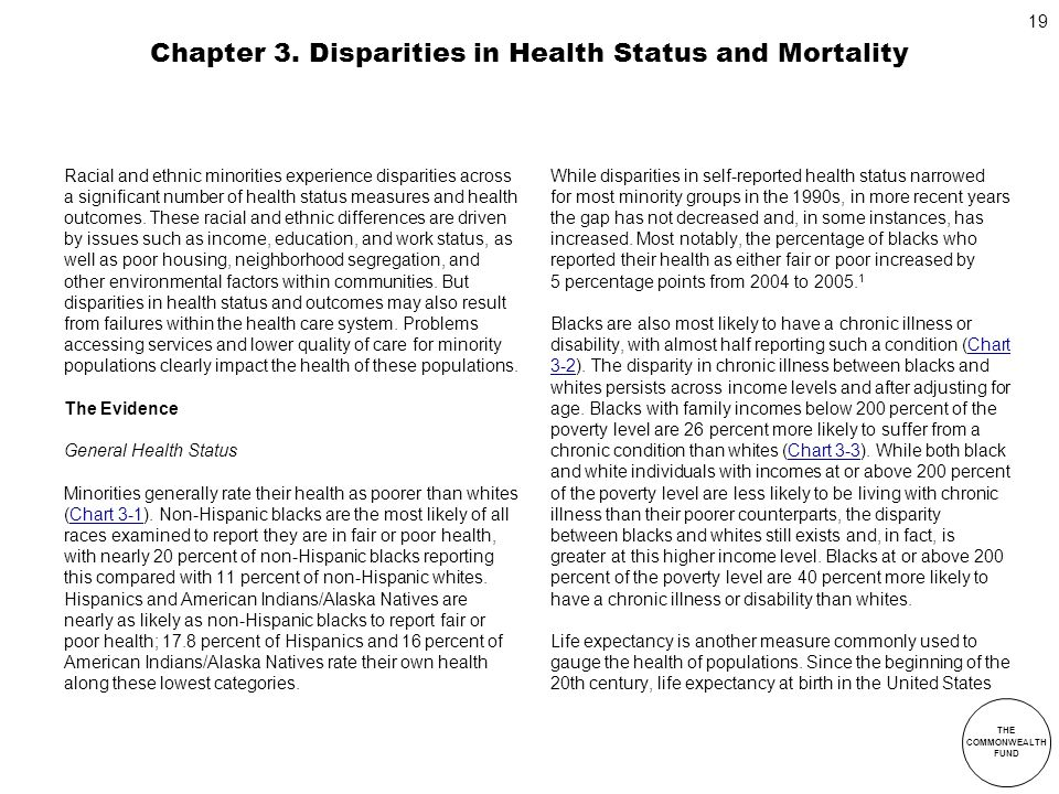 THE COMMONWEALTH FUND 19 Chapter 3. Disparities in Health Status and Mortality Racial and ethnic minorities experience disparities across a significan