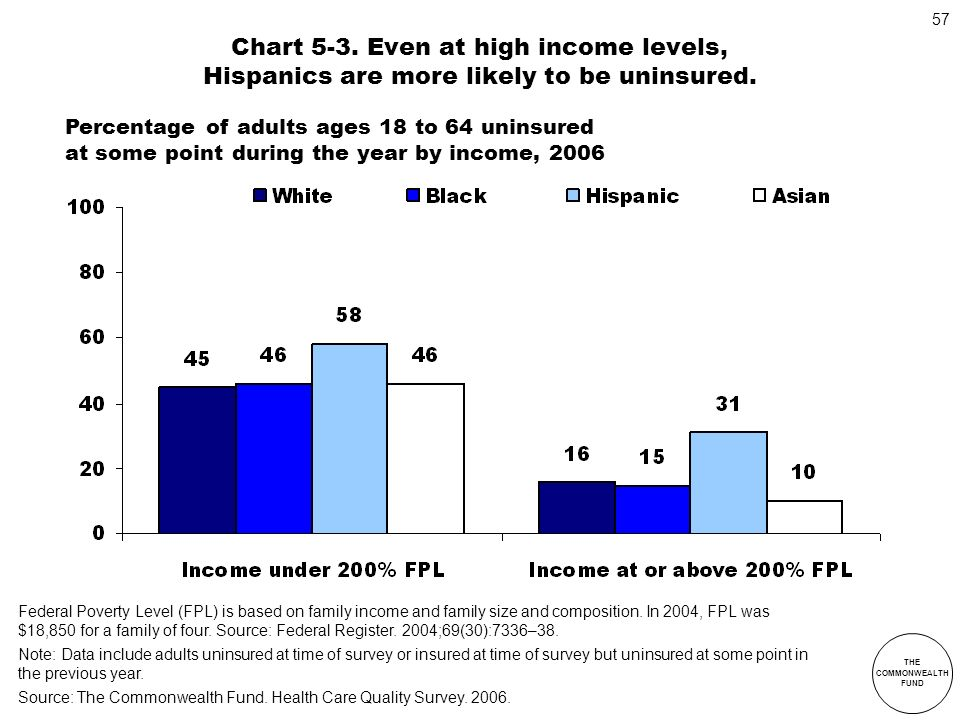 THE COMMONWEALTH FUND 57 Federal Poverty Level (FPL) is based on family income and family size and composition. In 2004, FPL was $18,850 for a family
