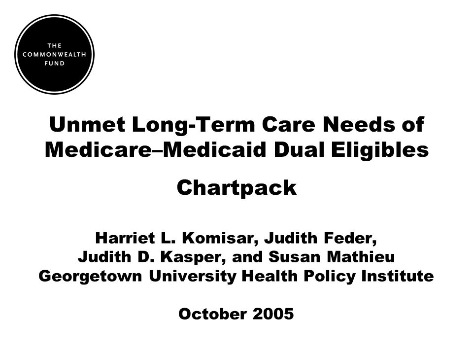 Unmet Long-Term Care Needs of Medicare–Medicaid Dual Eligibles Chartpack Harriet L.