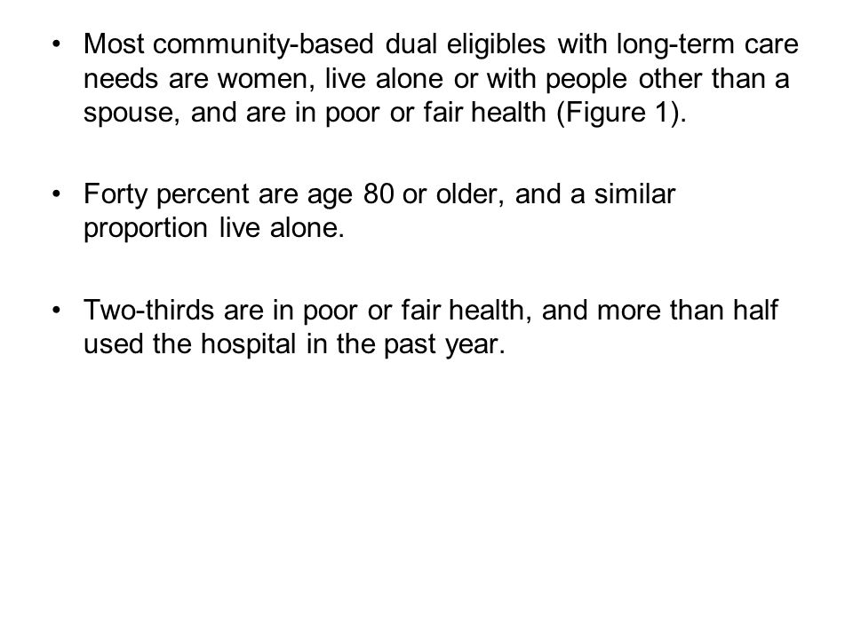 Most community-based dual eligibles with long-term care needs are women, live alone or with people other than a spouse, and are in poor or fair health