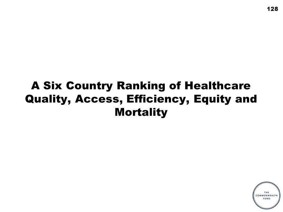 128 A Six Country Ranking of Healthcare Quality, Access, Efficiency, Equity and Mortality