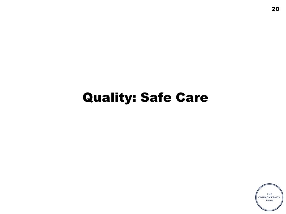 20 Quality: Safe Care