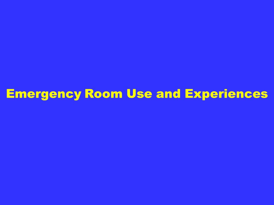 Emergency Room Use and Experiences