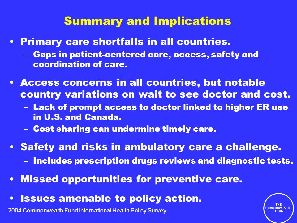 2004 Commonwealth Fund International Health Policy Survey THE COMMONWEALTH FUND Summary and Implications Primary care shortfalls in all countries.