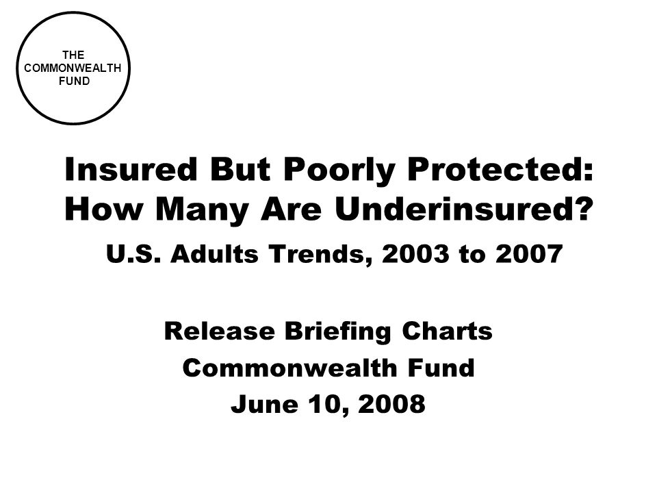 THE COMMONWEALTH FUND Insured But Poorly Protected: How Many Are Underinsured.