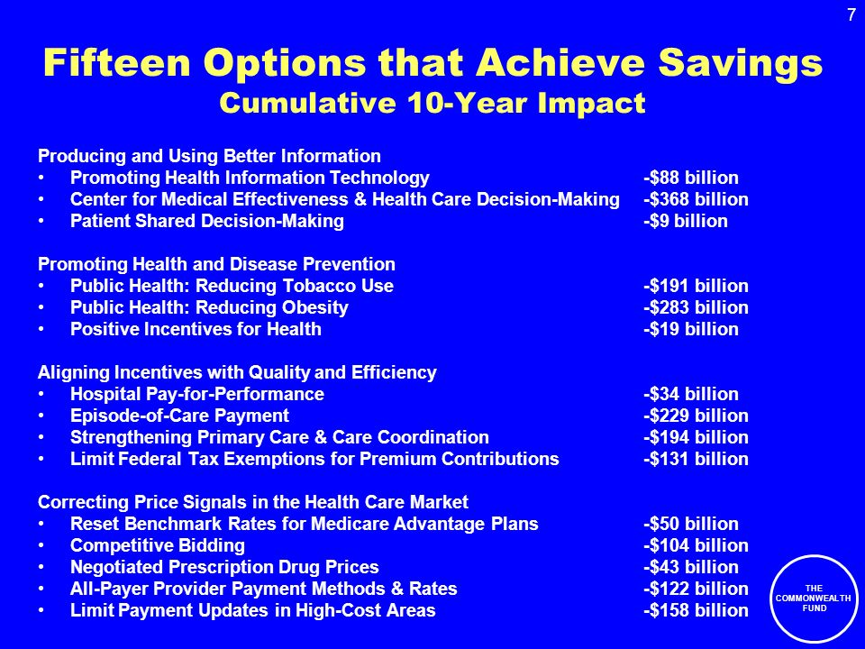 THE COMMONWEALTH FUND 7 Fifteen Options that Achieve Savings Cumulative 10-Year Impact Producing and Using Better Information Promoting Health Information Technology-$88 billion Center for Medical Effectiveness & Health Care Decision-Making-$368 billion Patient Shared Decision-Making-$9 billion Promoting Health and Disease Prevention Public Health: Reducing Tobacco Use-$191 billion Public Health: Reducing Obesity-$283 billion Positive Incentives for Health-$19 billion Aligning Incentives with Quality and Efficiency Hospital Pay-for-Performance-$34 billion Episode-of-Care Payment-$229 billion Strengthening Primary Care & Care Coordination-$194 billion Limit Federal Tax Exemptions for Premium Contributions-$131 billion Correcting Price Signals in the Health Care Market Reset Benchmark Rates for Medicare Advantage Plans-$50 billion Competitive Bidding-$104 billion Negotiated Prescription Drug Prices-$43 billion All-Payer Provider Payment Methods & Rates-$122 billion Limit Payment Updates in High-Cost Areas-$158 billion