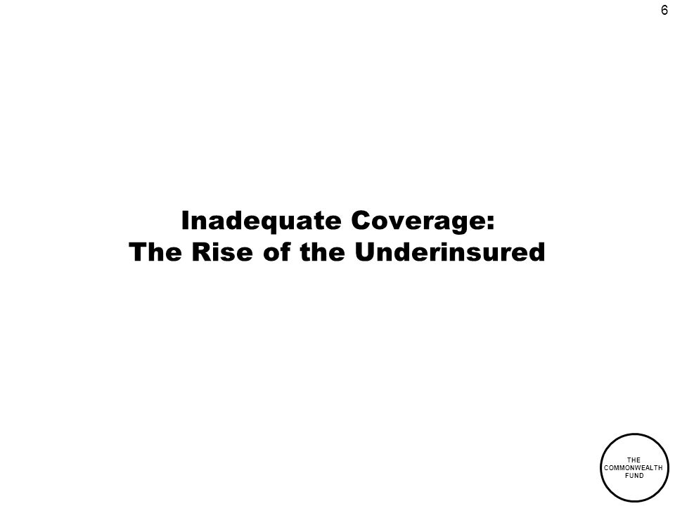 6 THE COMMONWEALTH FUND Inadequate Coverage: The Rise of the Underinsured
