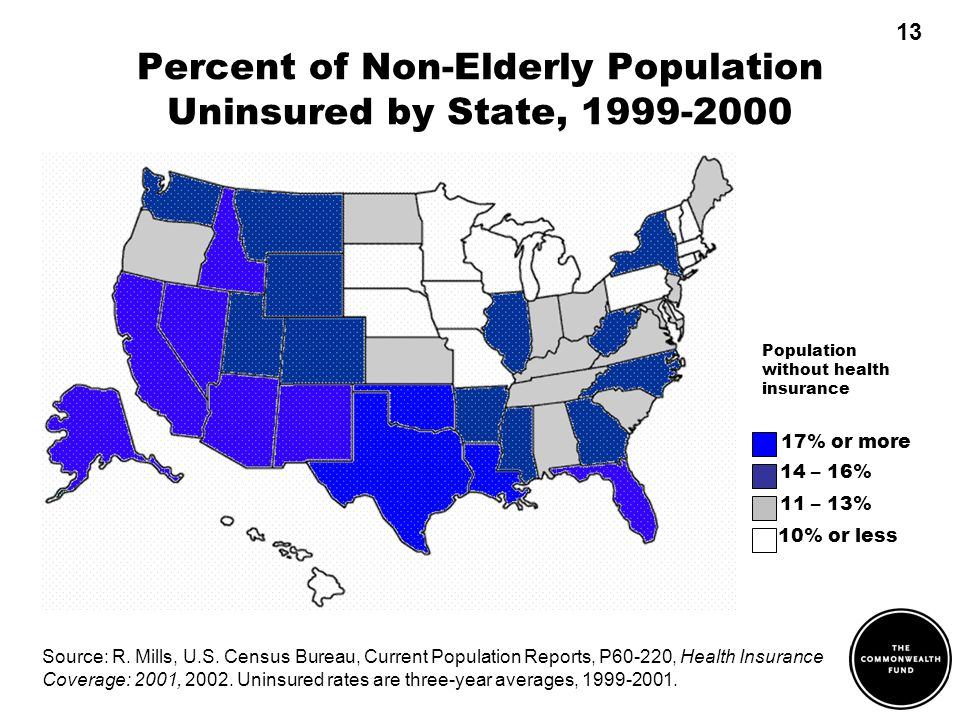 Percent of Non-Elderly Population Uninsured by State, Source: R.