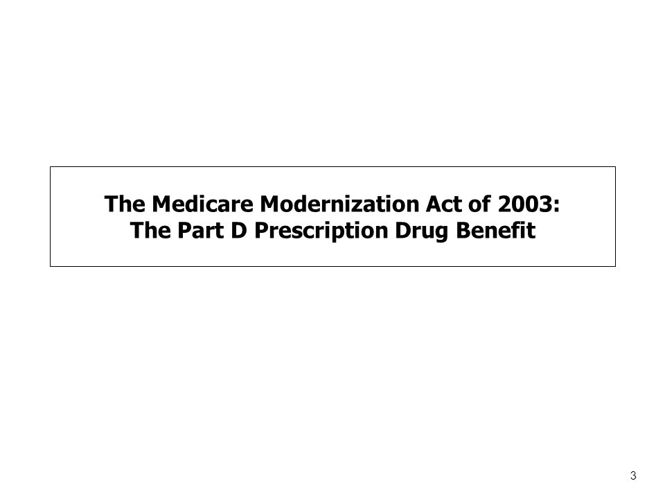 3 The Medicare Modernization Act of 2003: The Part D Prescription Drug Benefit