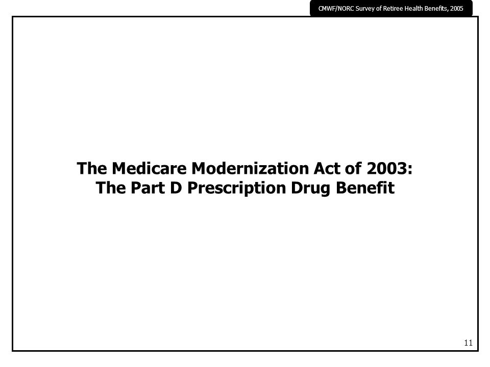 CMWF/NORC Survey of Retiree Health Benefits, 2005 11 The Medicare Modernization Act of 2003: The Part D Prescription Drug Benefit