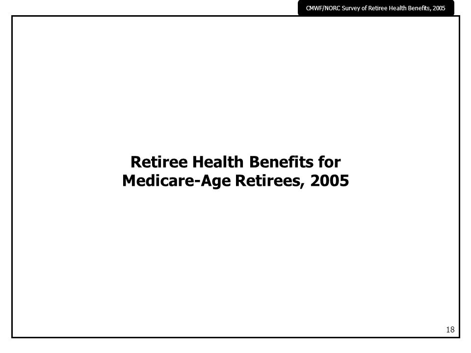 CMWF/NORC Survey of Retiree Health Benefits, 2005 18 Retiree Health Benefits for Medicare-Age Retirees, 2005