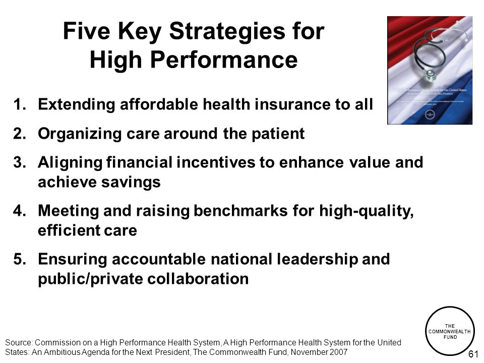 THE COMMONWEALTH FUND 61 Five Key Strategies for High Performance 1.Extending affordable health insurance to all 2.Organizing care around the patient 3.Aligning financial incentives to enhance value and achieve savings 4.Meeting and raising benchmarks for high-quality, efficient care 5.Ensuring accountable national leadership and public/private collaboration Source: Commission on a High Performance Health System, A High Performance Health System for the United States: An Ambitious Agenda for the Next President, The Commonwealth Fund, November 2007