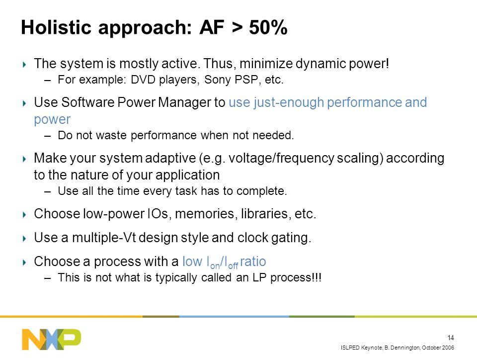 ISLPED Keynote, B. Dennington, October 2006 14 Holistic approach: AF > 50% The system is mostly active. Thus, minimize dynamic power! –For example: DV