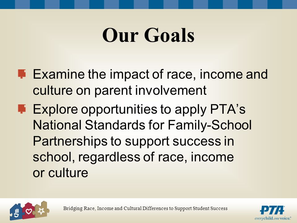Our Goals Examine the impact of race, income and culture on parent involvement Explore opportunities to apply PTAs National Standards for Family-School Partnerships to support success in school, regardless of race, income or culture
