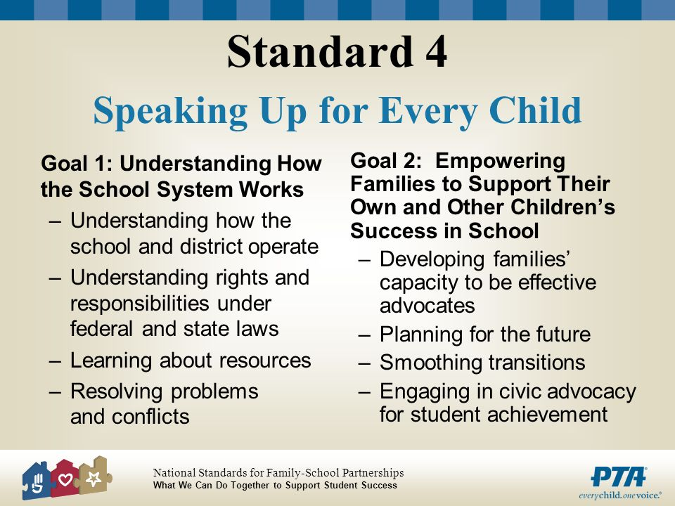 National Standards for Family-School Partnerships What We Can Do Together to Support Student Success Standard 4 Speaking Up for Every Child Goal 1: Un