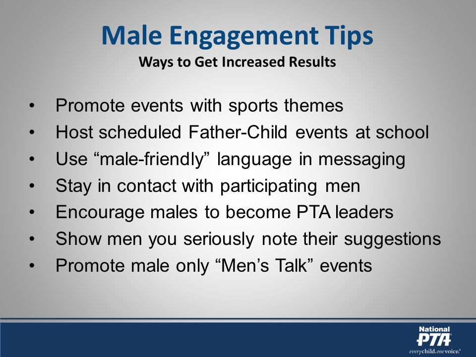 Promote events with sports themes Host scheduled Father-Child events at school Use male-friendly language in messaging Stay in contact with participating men Encourage males to become PTA leaders Show men you seriously note their suggestions Promote male only Mens Talk events Male Engagement Tips Ways to Get Increased Results