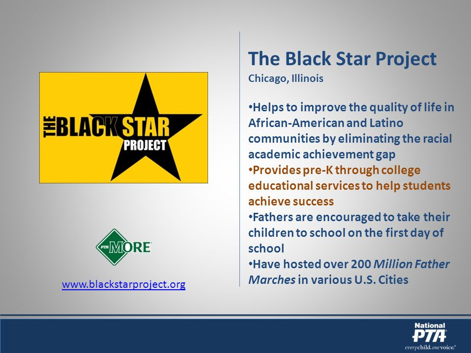 The Black Star Project Chicago, Illinois Helps to improve the quality of life in African-American and Latino communities by eliminating the racial academic achievement gap Provides pre-K through college educational services to help students achieve success Fathers are encouraged to take their children to school on the first day of school Have hosted over 200 Million Father Marches in various U.S.