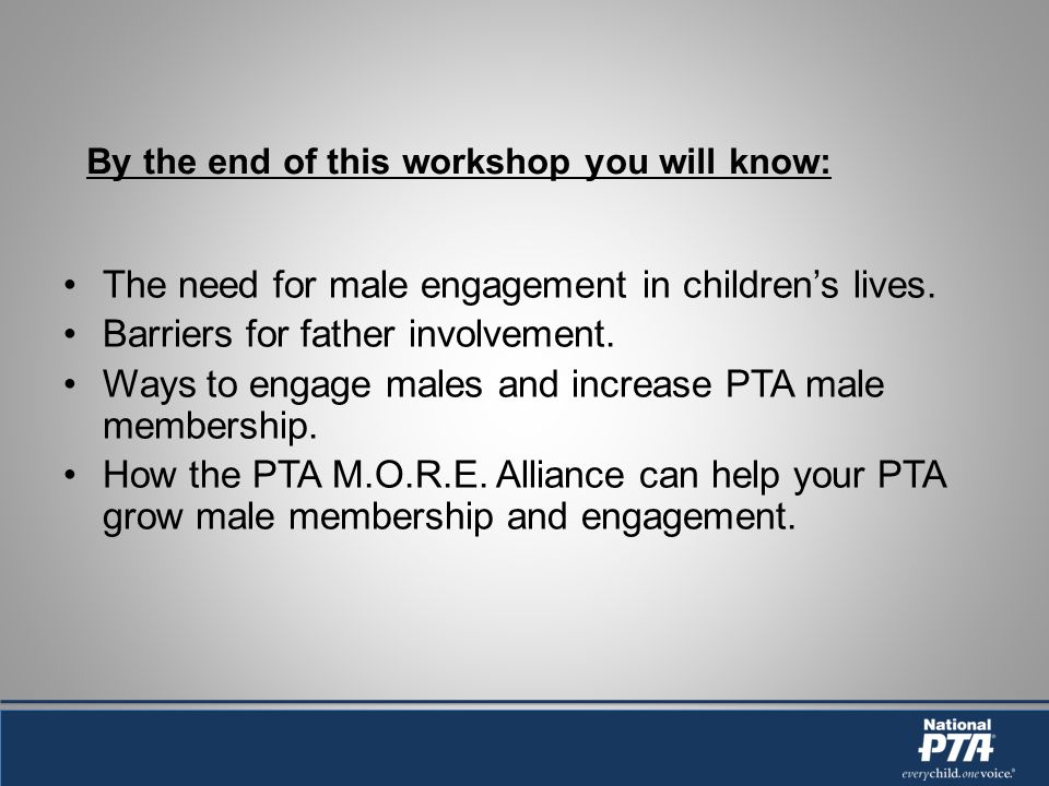 By the end of this workshop you will know: The need for male engagement in childrens lives.