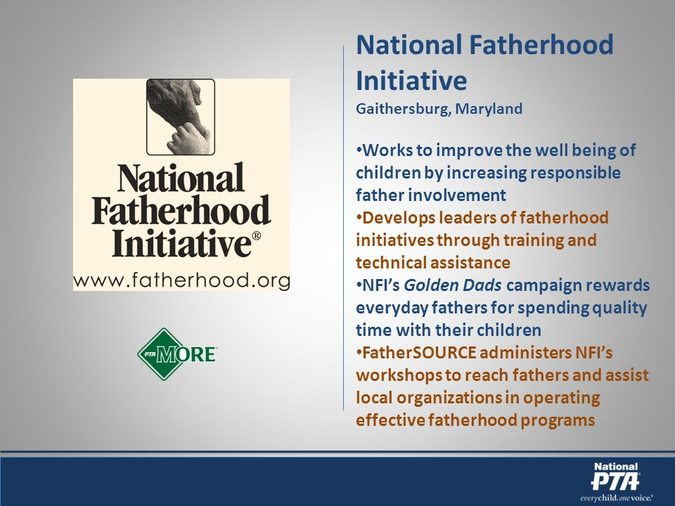 National Fatherhood Initiative Gaithersburg, Maryland Works to improve the well being of children by increasing responsible father involvement Develops leaders of fatherhood initiatives through training and technical assistance NFIs Golden Dads campaign rewards everyday fathers for spending quality time with their children FatherSOURCE administers NFIs workshops to reach fathers and assist local organizations in operating effective fatherhood programs