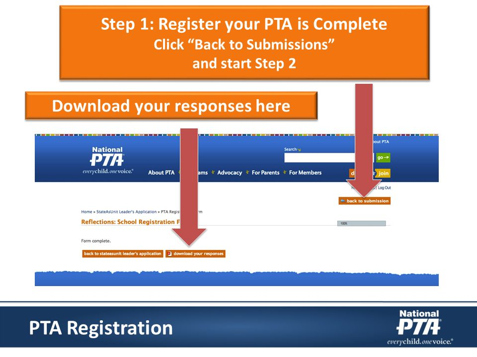Step 1: Register your PTA is Complete Click Back to Submissions and start Step 2 Step 1: Register your PTA is Complete Click Back to Submissions and start Step 2 Download your responses here PTA Registration