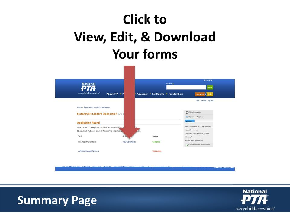 Click to View, Edit, & Download Your forms Summary Page