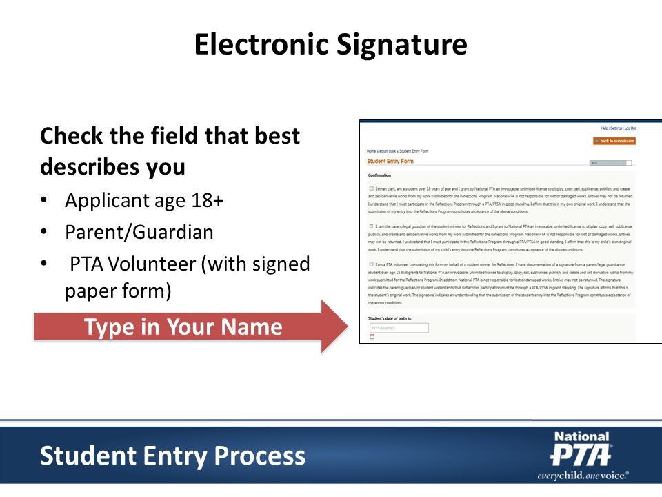 Electronic Signature Check the field that best describes you Applicant age 18+ Parent/Guardian PTA Volunteer (with signed paper form) Type in Your Name Student Entry Process