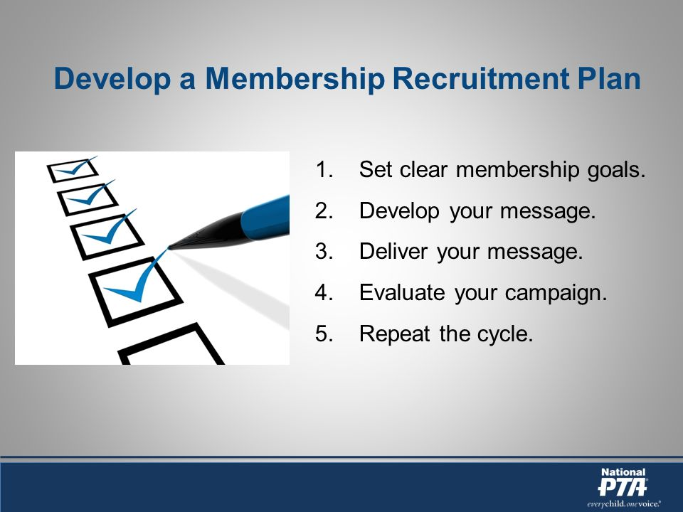 Develop a Membership Recruitment Plan 1. Set clear membership goals.