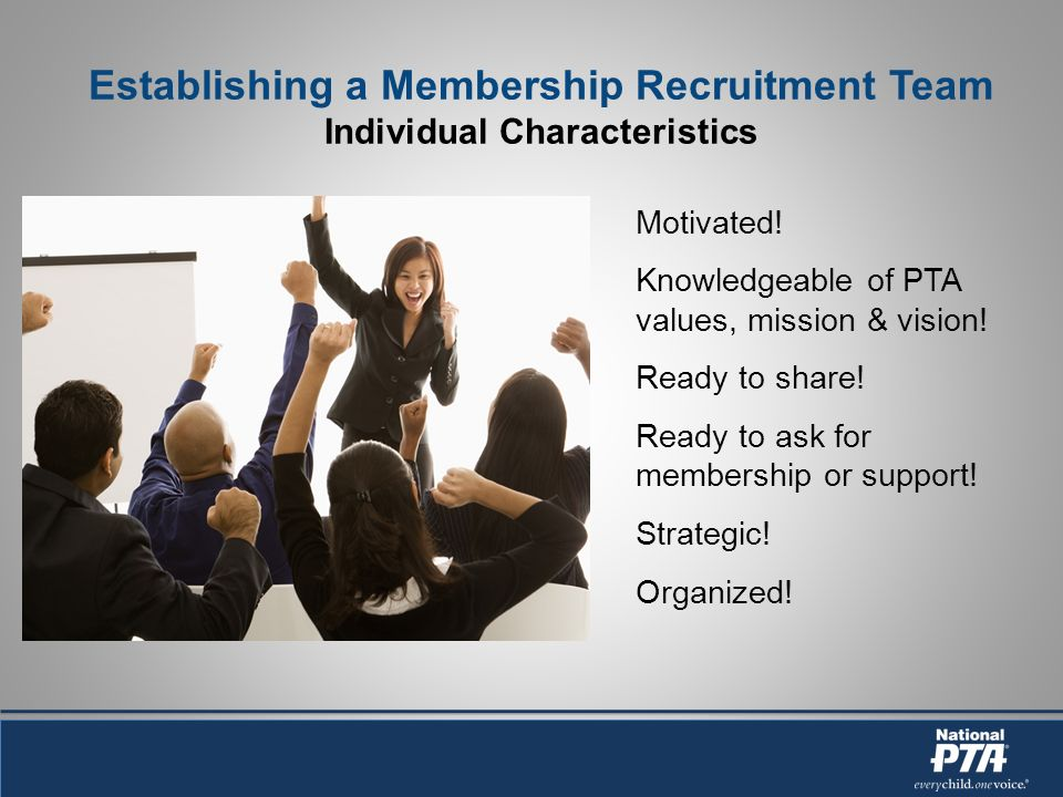 Establishing a Membership Recruitment Team Individual Characteristics Motivated.